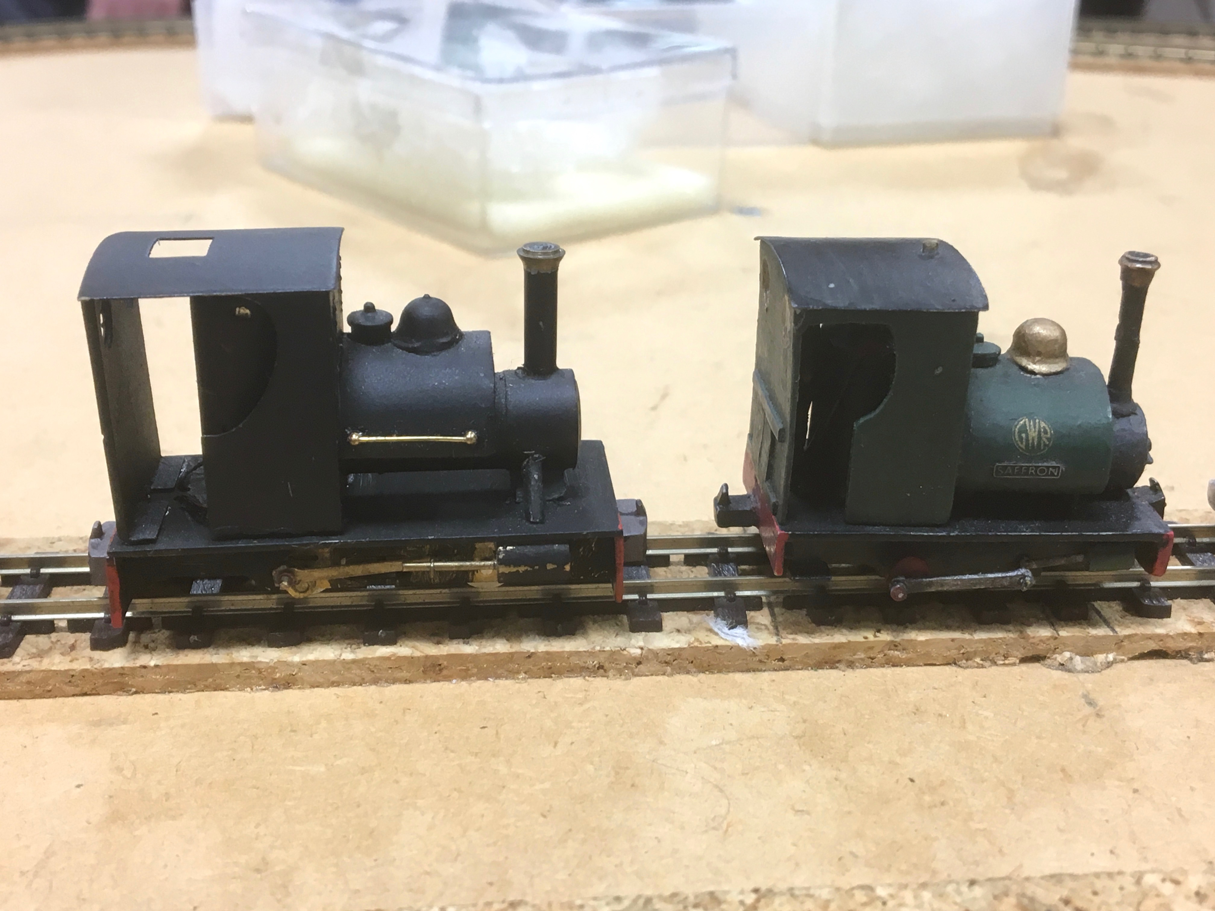 Saltford Models Audley (left) from Julien Webb's collection and Will King's Churchwater loco