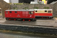 Modern image on Glastraeth shed (1) -  David Churchill's Ferro Train Rh2095-002-8 in front of Angela Baker's Roco Rh2095-4