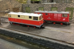Modern image on Glastraeth shed (2) - Angela Baker's Roco Rh2095-4 n front of David Churchill's Ferro Train Rh2095-002-8.