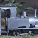 "David's N Drive Bagnall.jpg - David Churchill's built but unpainted N-Drive Bagnall ""Central"" 0-4-0T running on the chassis supplied with the kit. (photo © David Churchill)"