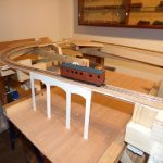 "Peter A's layout 1-3.JPG - Peter Ashby's Talyllyn inspired layout, a 10'6"" by 3' oval including a version of the Dolgoch viaduct. (photo © Peter Ashby)"
